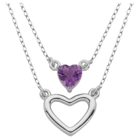 "Sterling Silver Genuine Amethyst Layered Heart Necklace, 18+2"" - image 1 of 1"