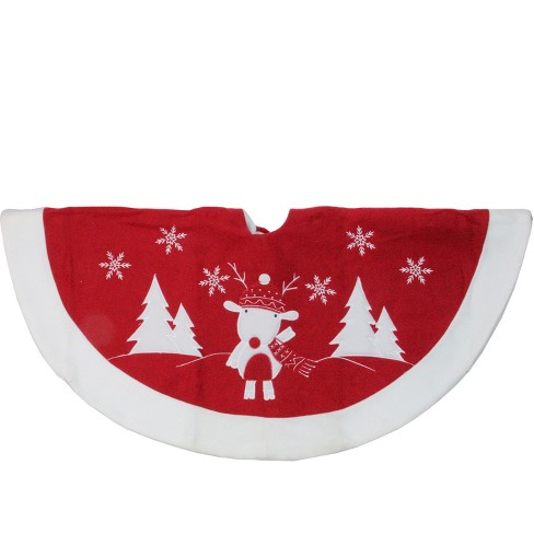 Christmas Skirt.Northlight 46 Red And White Winter Reindeer Embroidered Christmas Tree Skirt