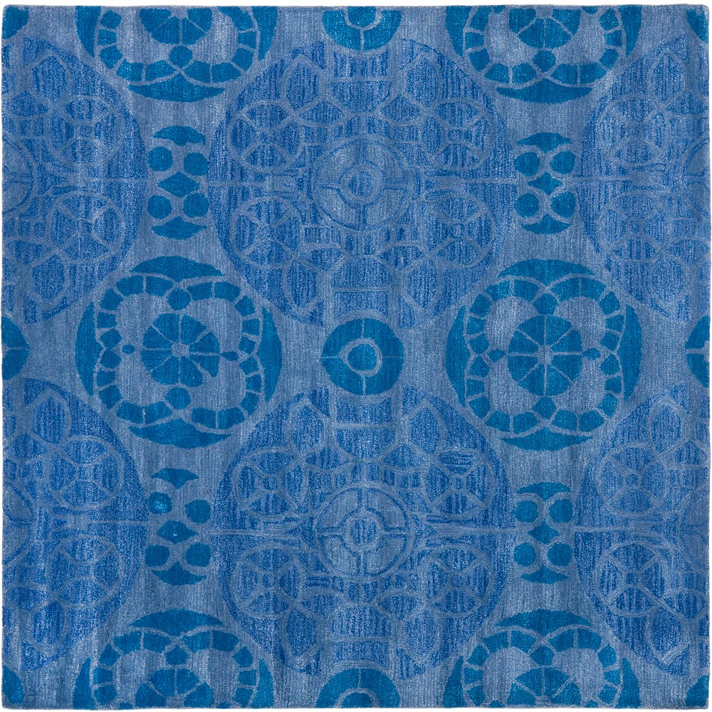 5'X5' Medallion Tufted Square Area Rug Blue - Safavieh