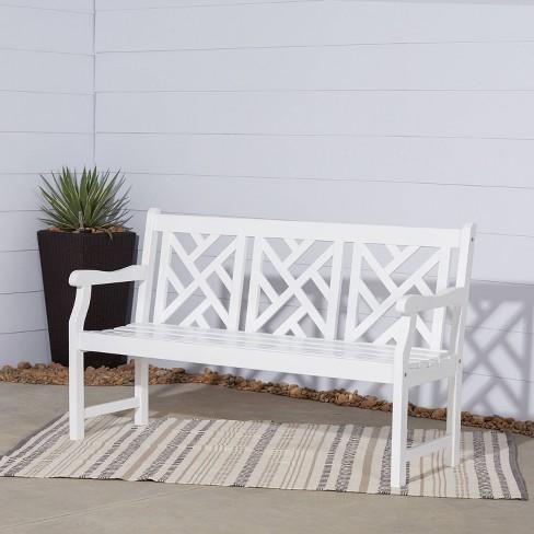 Vifah Bradley Outdoor Wood Bench White
