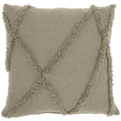 "18""x18"" Distressed Diamond Throw Pillow Green - Mina Victory"
