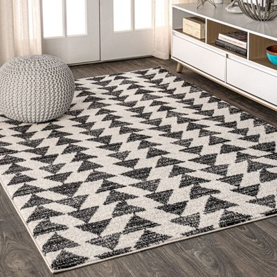 3'x5' Rectangle Loomed Geometric Area Rug Black - JONATHAN  Y