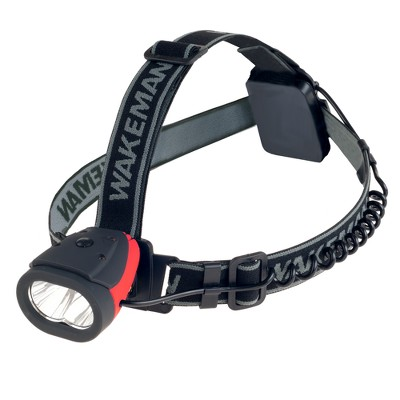 Wakeman LED Headlamp Water Resistant Hands Free Light - Red