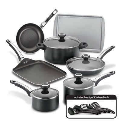 Farberware High Performance 17pc Aluminum Nonstick Cookware Set Black