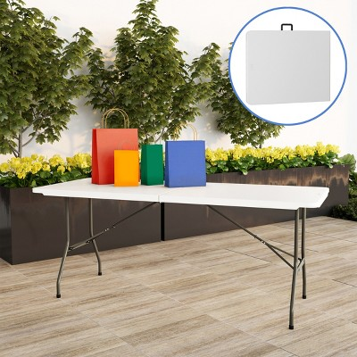 Hastings Home 6' Folding Utility Table With Carry Handle - White