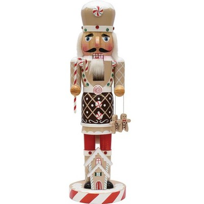 """northlight-14""""-gingerbread-kisses-white,-brown-and-red-wooden-christmas-nutcracker-chef by northlight"""