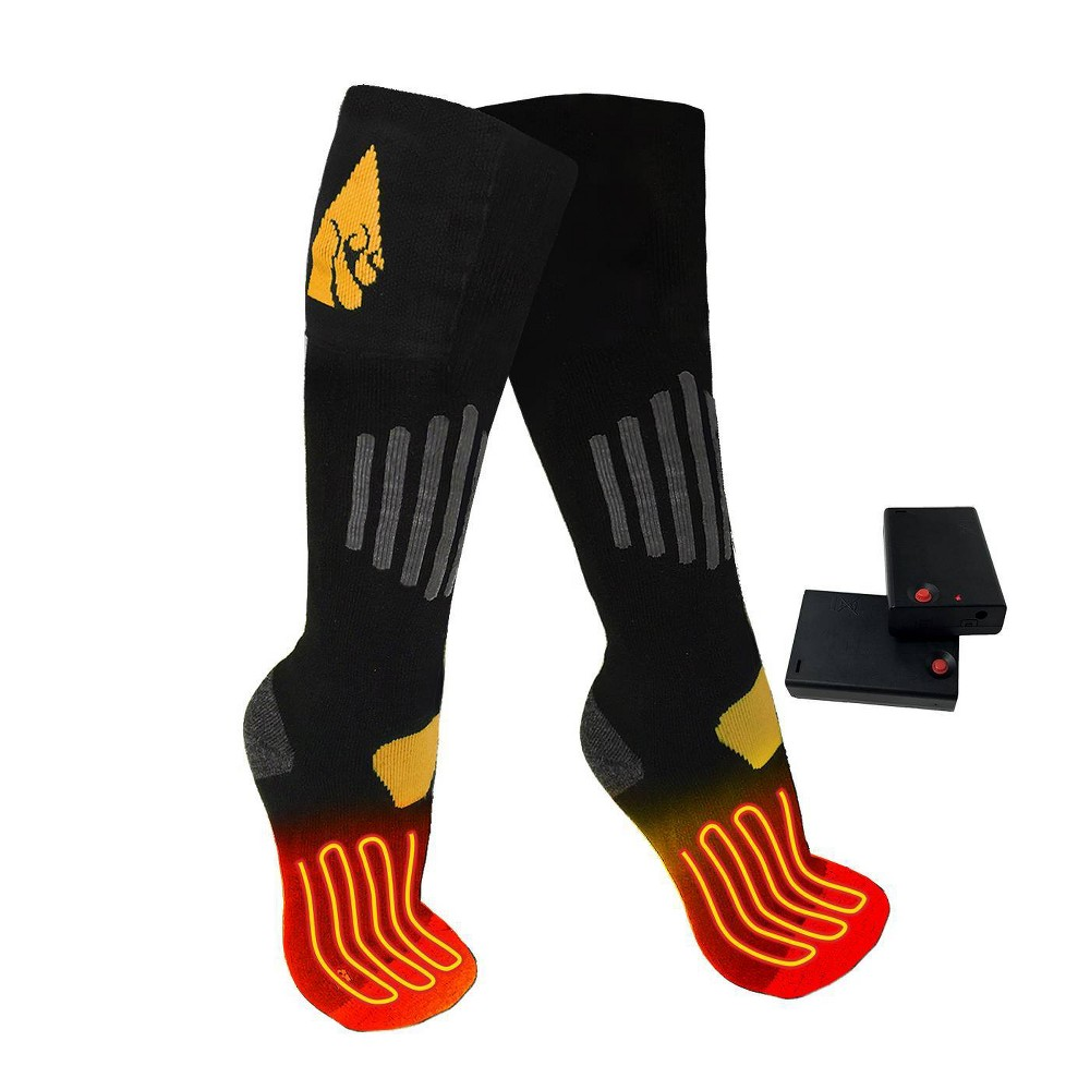 Image of ActionHeat Cotton AA Battery Heated Socks - Black S/M, Size: Small/Medium