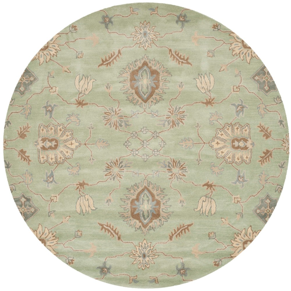 7' Floral Tufted Round Area Rug Light Green - Safavieh