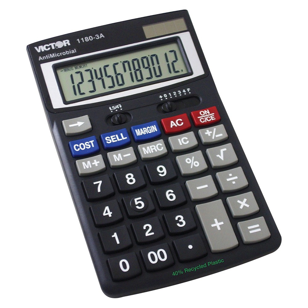 Victor Battery - Powered Basic Calculator - Black