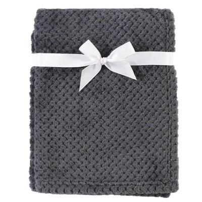 Hudson Baby Unisex Baby Plush Waffle Blanket - Charcoal One Size