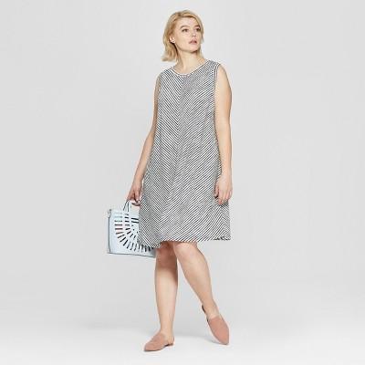 57c82e5b04aa5 Women's Plus Size Striped Sleeveless Midi Swing Dress - Ava & Viv™  Black/White : Target