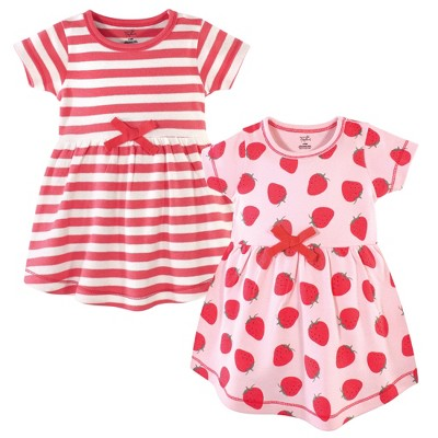 Touched by Nature Baby and Toddler Girl Organic Cotton Short-Sleeve Dresses 2pk, Strawberries
