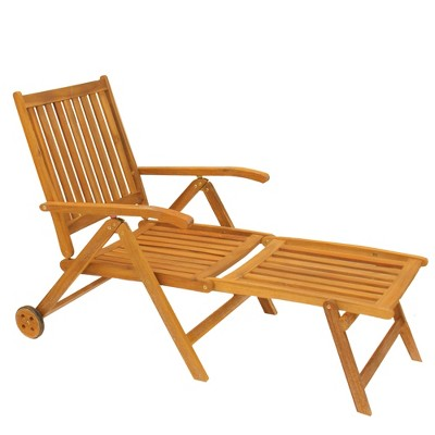 """Northlight 55"""" Acacia Wood Outdoor Patio Chaise Lounge Chair - Brown"""