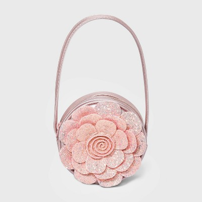 Toddler Girls' Flower Shoulder Glitter Purse - Cat & Jack™ Pink
