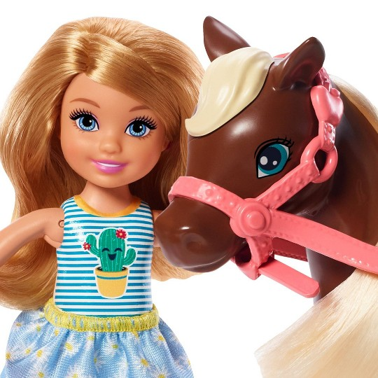 Barbie Club Chelsea Doll and Brown Pony image number null