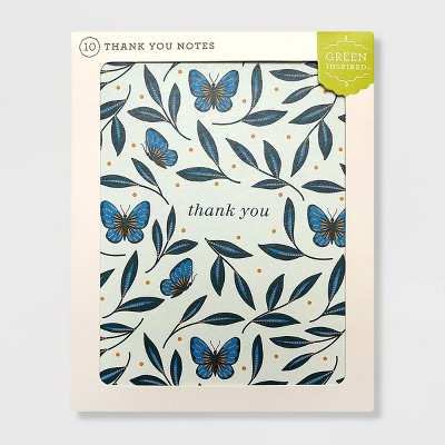 Green Inspired 10ct Butterfly Garden Thank You Cards
