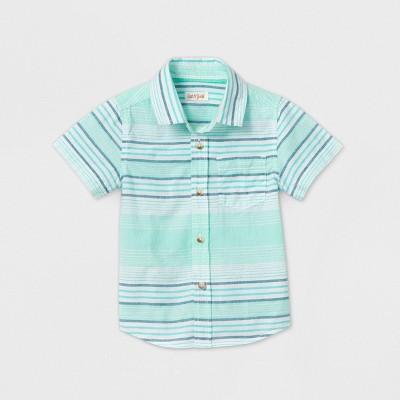 Toddler Boys' Short Sleeve Striped Button-Down Shirt - Cat & Jack™ Green 3T