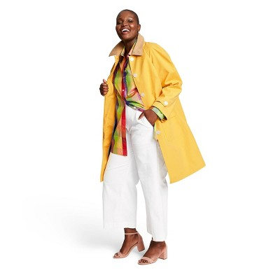 Women's Plus Size Long Sleeve Collared Front Button Down Coat   Isaac Mizrahi For Target Yellow/Tan by Down Coat