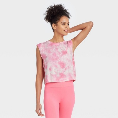 Women's Tie-Dye Muscle Tank Top with Raw Edge - JoyLab™ Pink S