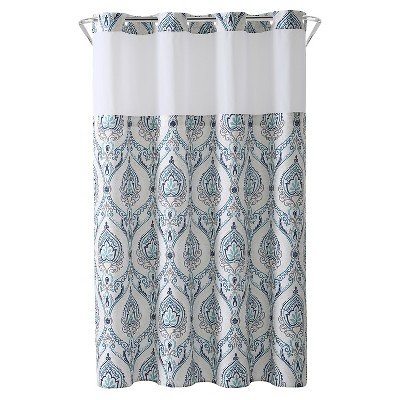 French Damask Shower Curtain with Liner - Hookless