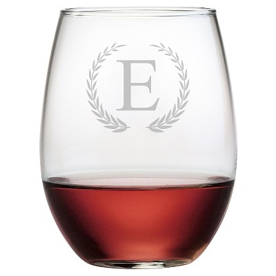 Susquehanna 21oz Glass Wreath Monogram Stemless Wine Glasses A-Z - Set of 4