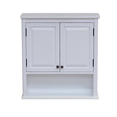 Dorset Wall Mounted Bath Storage Cabinet with Two Doors and Open Shelf White - Alaterre Furniture