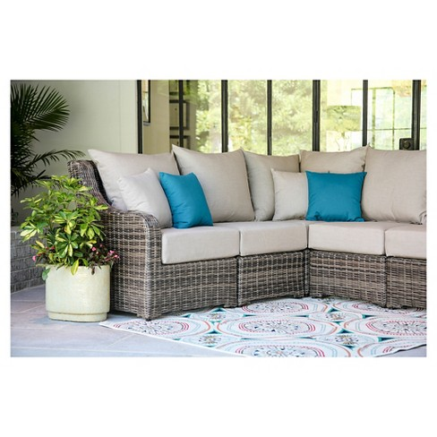 Cherry Hill 5pc All Weather Wicker Patio Sectional W Sunbrella Fabric Cast Ash Ae Outdoor Target