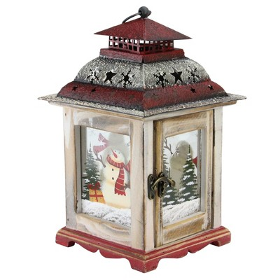 "Northlight 11.75"" Rustic Wooden Snowman Holiday Scene Christmas Candle Lantern"