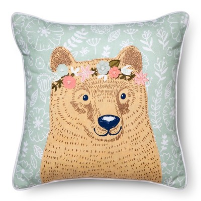 "16""x16"" Flower Bear Throw Pillow - Pillowfort™"