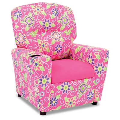 Kid's Recliner With Cupholder - Daisy Doodle With Passion Pink - Kangaroo Trading Co.