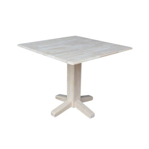 Sanders 36 Square Dual Drop Leaf Dining Table Unfinished International Concepts