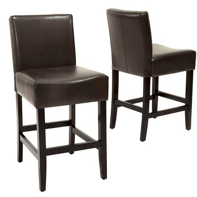 """Set of 2 25.5"""" Lopez Leather Counter Height Barstools - Christopher Knight Home"""