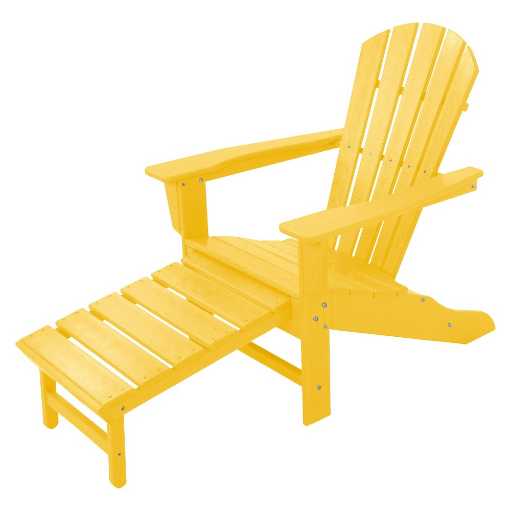 Polywood Palm Coast Adirondack Chair with Pull Out Ottoman - Yellow