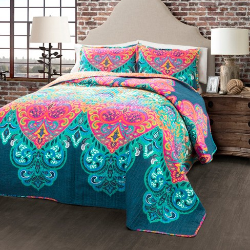 Boho Chic Quilt Set Turquoise/Navy - Lush Decor - image 1 of 3