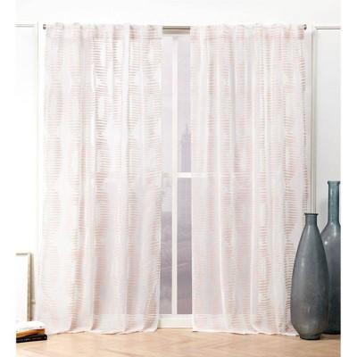 "Set of 2 84""x54"" Odense Hidden Tab Top Sheer Curtain Panel Blush - Nicole Miller"