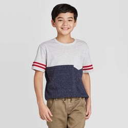 Boys' Short Sleeve Colorblock Striped T-Shirt - Cat & Jack™ Red/White/Blue
