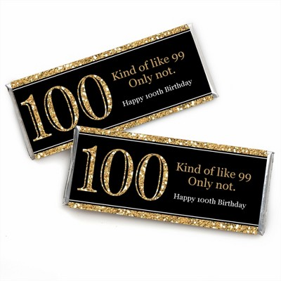Big Dot of Happiness Adult 100th Birthday - Gold - Candy Bar Wrappers Birthday Party Favors - Set of 24