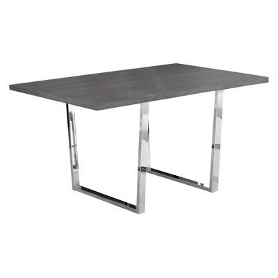 "36"" X 60"" Dining Table Chrome Metal Gray - EveryRoom"