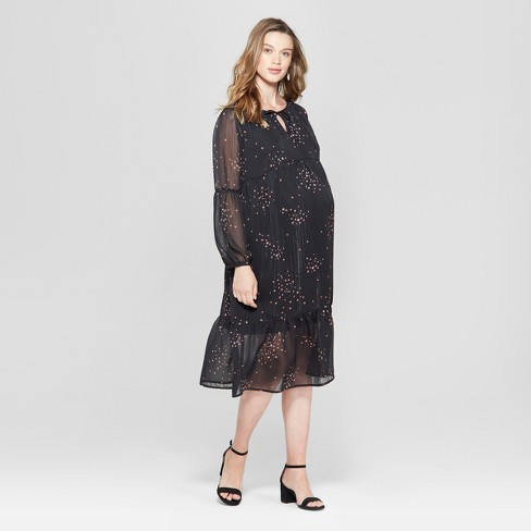 745030a0141 Maternity Printed Woven Flounce Dress - Isabel Maternity by Ingrid   Isabel™  Black