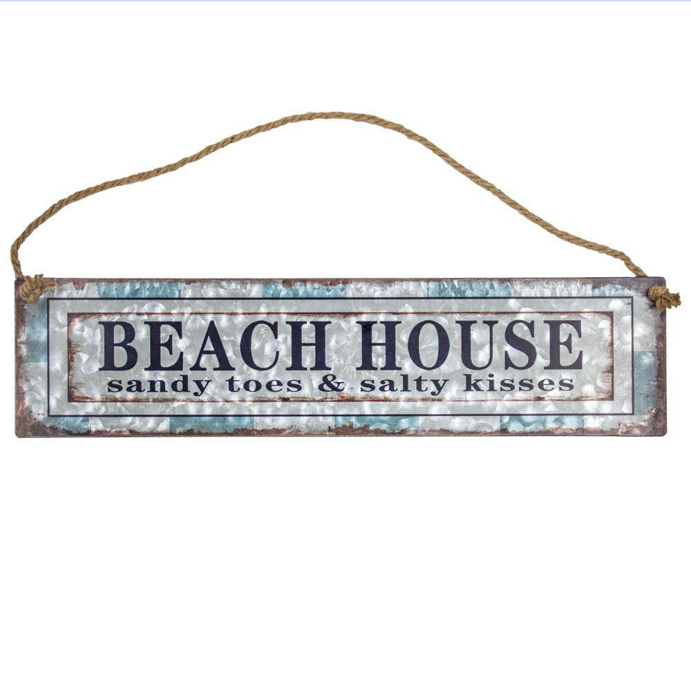 Image of 'Beach House' Galvanized Metal With Rope Hanger Wall Decor - E2 Concepts, Multi-Colored