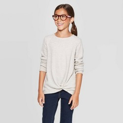 Girls' Long Sleeve Cozy Waffle T-Shirt - Cat & Jack™ Brown