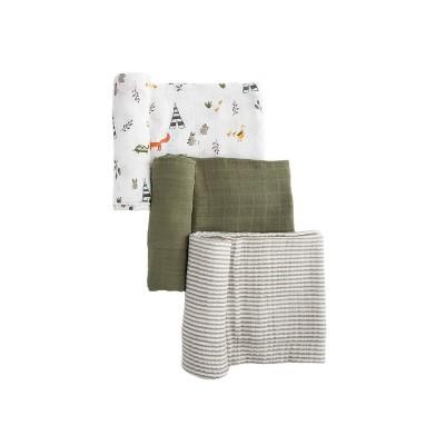 Little Unicorn Cotton Muslin Swaddle Blanket - Forest Friends 3pk