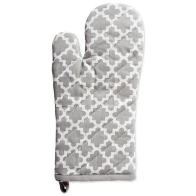 2pk Cotton Lattice Oven Mitt Set Gray - Design Imports