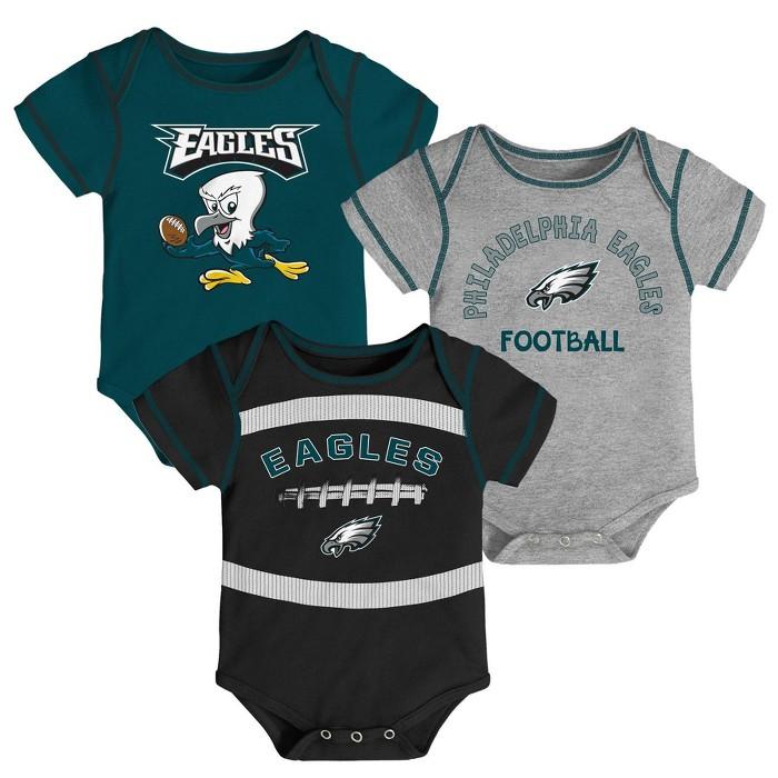 NFL Philadelphia Eagles Baby Boys' Newest Fan 3pk Bodysuit Set - image 1 of 4