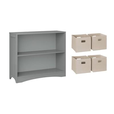 5pc Kids' Horizontal Bookcase Set with 4 Bins - RiverRidge Home