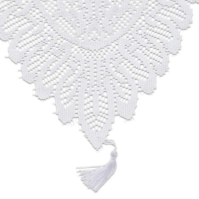 Juvale White Lace Polyester Cloth Dining Table Runner, 54 Inches long x 13 in