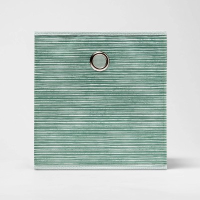 "11"" Fabric Cube Storage Bin Crisp Green Texture Print - Room Essentials™"