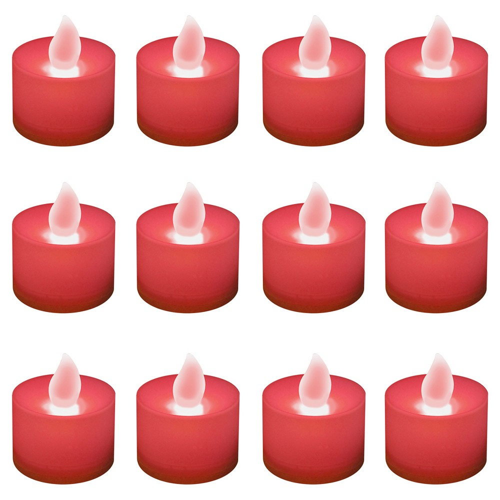 Image of 12ct Battery Operated LED Tea Lights Red