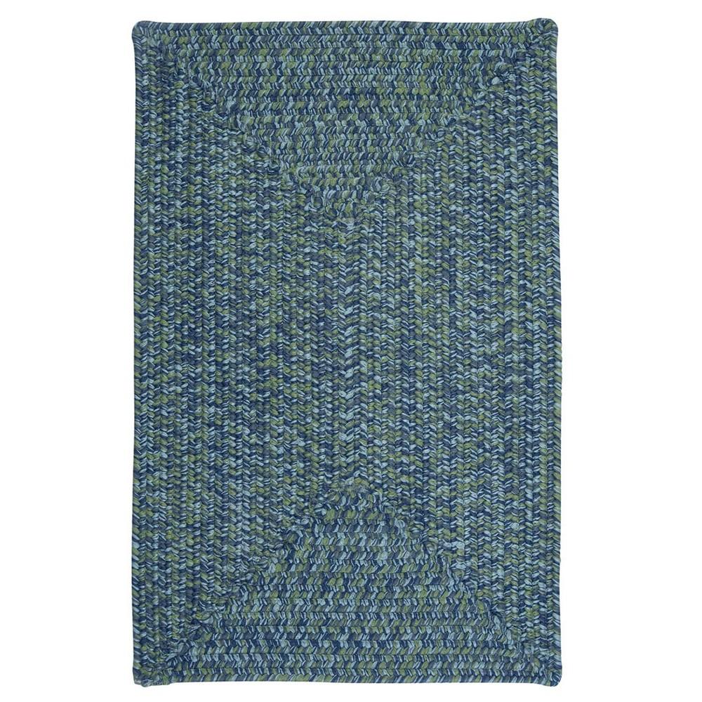Island Tweed Braided Square Area Rug Blue