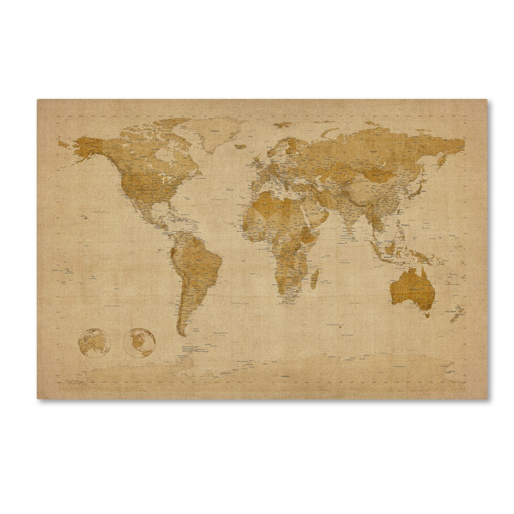 Antique World Map' by Michael Tompsett Ready to Hang Canvas Wall Art, Multicolored